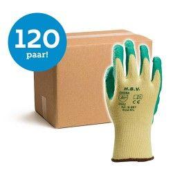 HBV werkhandschoen groen/geel - 120 paar